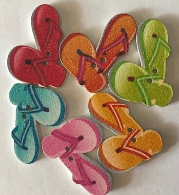 6 Thongs Mixed Colour Wooden Buttons - Sewing, Craft, Scrapbooking,Quilting