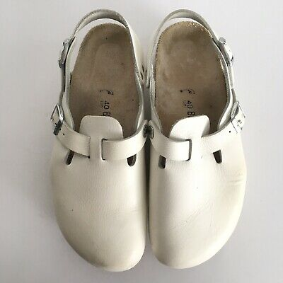 d721b73679fc Birkenstock Tokyo Super Grip White Leather Size 40 Work Nurse Shoes Clogs  Buckle