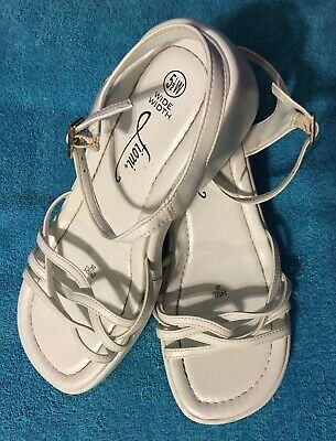 8c755d24309b Women s FIONI US Sz 5 1 2 Wide White Strap Buckle Sandals Low Heel Wedge