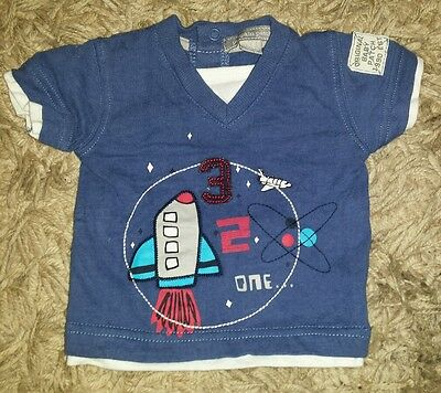 BABY BOYS Sz Newborn blue PUMPKIN PATCH spaceship t-shirt COOL! CUTE!