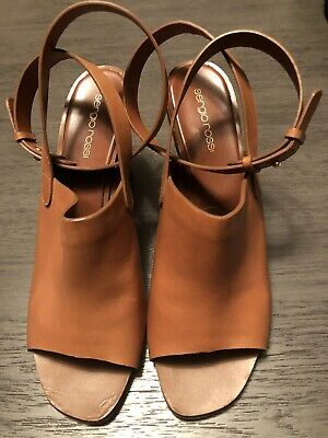 38e53fe530fd SERGIO ROSSI Tan Leather Wrap Around Ankle Wedge Silver Heel Size 40
