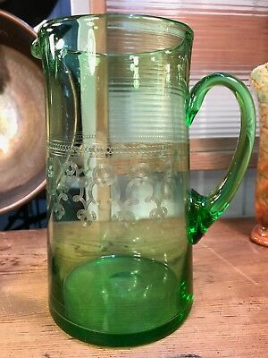 Antique English Edwardian Hand Made Etched Decorated Green Glass Jug 21cm