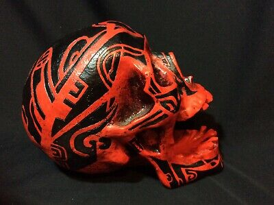 *Rare* Skull Head Skeleton Ashtray. Summit Collection. Red Black Ritual Tattoos