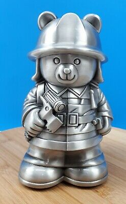 "Metal Firefighter Teddy Bear Coins Bank Piggy Bank Money Bank Kids Decor 6.5""T"