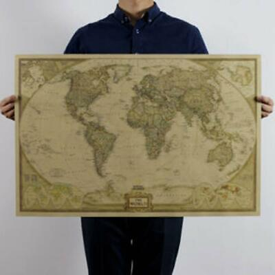 Cool Vintage Retro World Map Antique Paper Poster Wall Chart Home Bedroom UK.