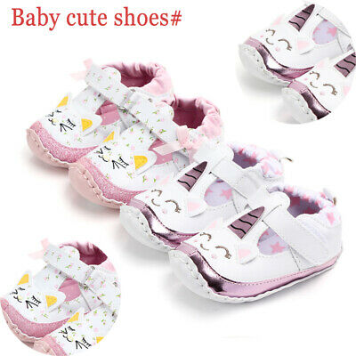 UK Infant Baby Girl Boy Toddler Unicorn Moccasins Soft Sole Prewalker Shoes New