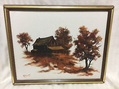 Beautiful Lanscape Cabin and Trees Oil Painting on Canvas Framed Signed Alberts!