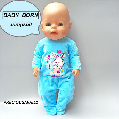 Baby born doll clothes fits 43 cm American Girl jumpsuit pyjamas bright pink