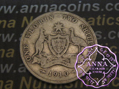 Australia 1910 Edward VII Florin X1, Average Circulated Condition