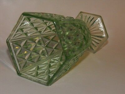 Green Depression Glass Vase ' Double Lozenge ' Crown Crystal Aust Art Deco 1930s