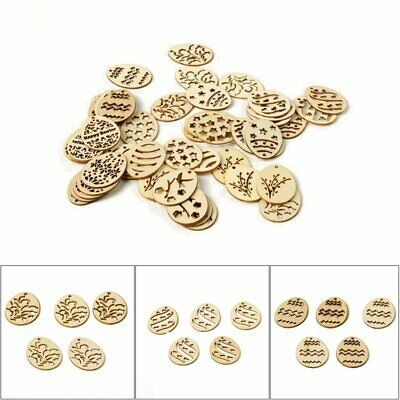 50 Happy Easter Eggs Wooden Craft DIY Wood Chips Home Decor Hanging Ornaments GN