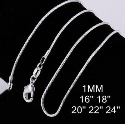 "10pcs/lot Stunning 925 Sterling Silver Snake Chain Necklace 1mm 18"" 20"" 22"" 24"""