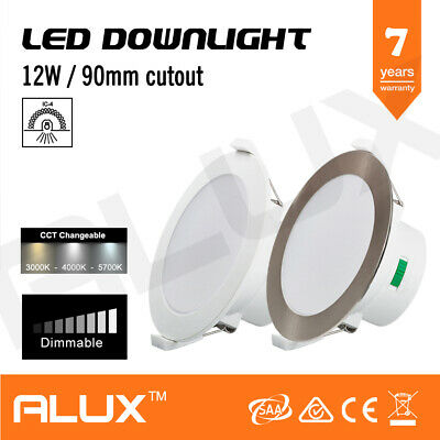 12W Cct Tri Colour Changing Led Downlight Dimmable 90Mm Cutout Ip44 Saa