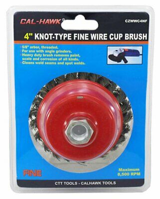 """CAL-HAWK 4"""" Twisted Knot Type Fine Wire Cup Brush for 5/8"""" Arbor"""