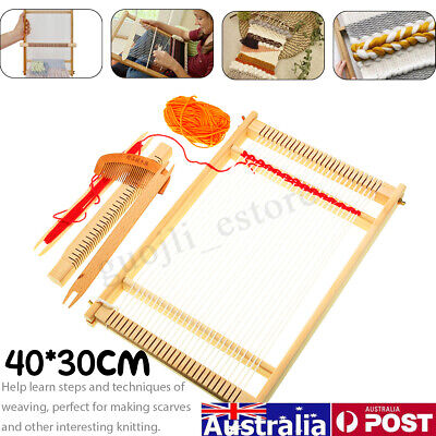 Traditional Wooden Weaving Loom Machine Pretend Play Toy Kids Knitting Craft AU