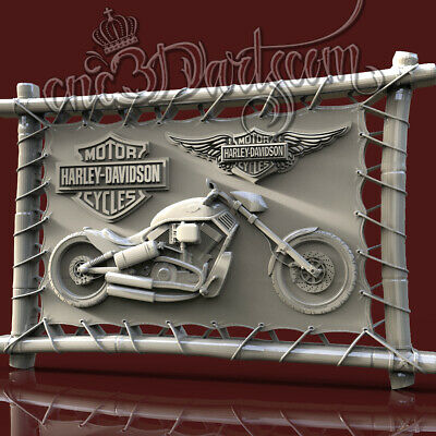 3D Model STL CNC Router Artcam Aspire Motorcycles HD Biker Panel Cut3D Vcarve