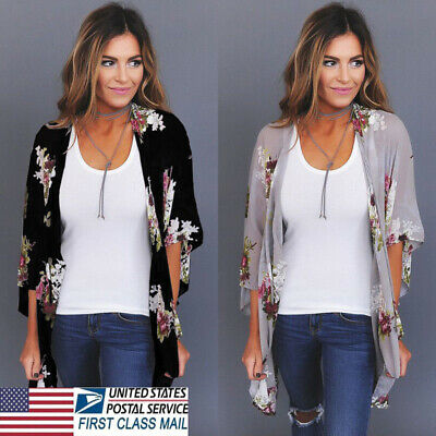 6a681cc8adb1 US STOCK New Women Floral Loose Kimono Cardigan Boho Chiffon Coat Jacket  Blouse