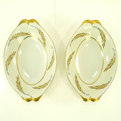 """Meito Norleans China Courtley Occupied Japan 13 1/2"""" Oval Serving Dish Set Of 2"""