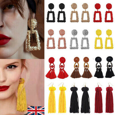 Fashion Women Bohemian Fringe Boho Long Tassel Hook Drop Dangle Earrings UK