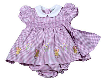 Baby Girls Pretty Spanish Style Traditional Lilac Smocked Dress Pants & Headband