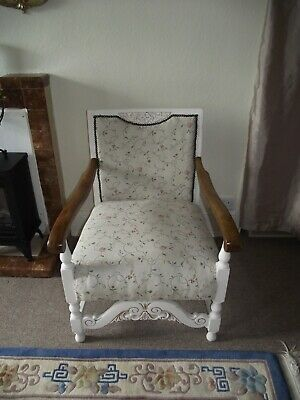 Victorian Carved Oak French Tapestry Armchair