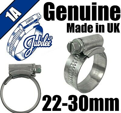 Genuine Original Jubilee Clips Steel Hose Pipe Clamps Worm Drive 22mm - 30mm 1A