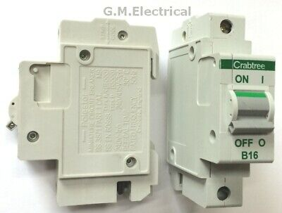 Crabtree Polestar 16 Amp Type B 16A Single Pole / Phase Mcb Breaker 60B/16 B16