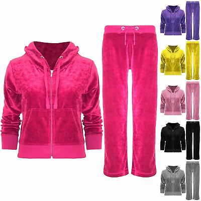 Kids Girls Hooded Velvet Velour Jogging Bottom Hoodies Top Loungewear Tracksuit