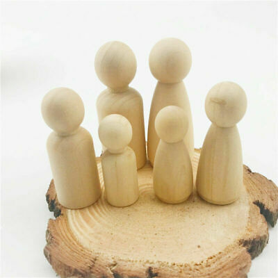 10pcs 35-65mm Natural Wooden Peg Dolls Little People Child Peg Doll DIY Toy Gift