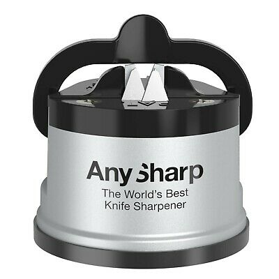 AnySharp World's Best Knife Sharpener, PowerGrip Suction, Classic Silver