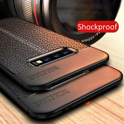 For Samsung Galaxy S10 S9 S8 + S7 Shockproof Slim Rubber TPU Leather Case Cover
