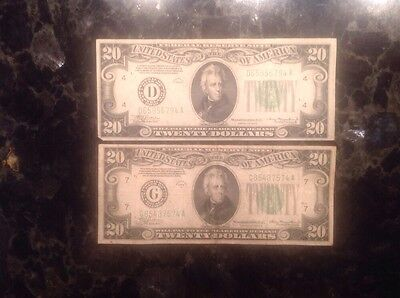 1934 A $20 Federal Reserve Note - Chicago + 1934 $20 FRN - Cleveland