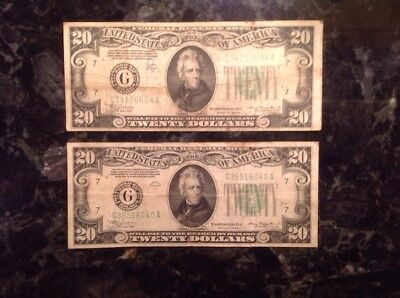 Lot Of (2) 1934 A  $20 Federal Reserve Note - Chicago