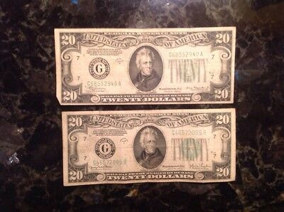 1934 A  $20 Federal Reserve Note - Chicago + 1934 D $20 FRN - Chicago