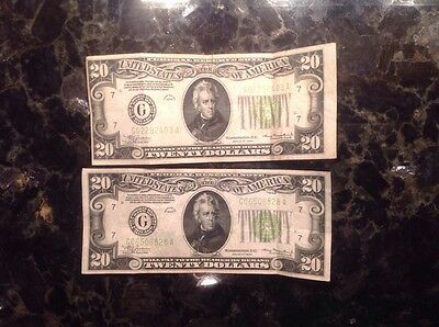 1934  $20 Federal Reserve Note - Chicago + 1934 $20 FRN - Chicago