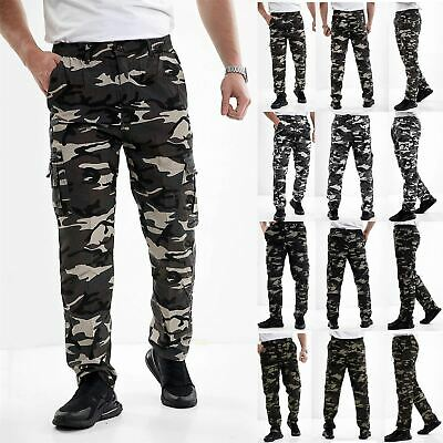 UK Men Cargo Combat Work Trousers Army Military Camo Multi Pockets Casual Pants