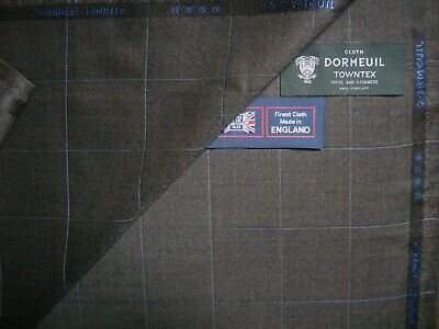 "DORMEUIL 95%WOOL+5% CASHMERE ""VINTAGE"" SUITING""SHARKSKIN WITH CHECK"" FABRIC-3.4m"