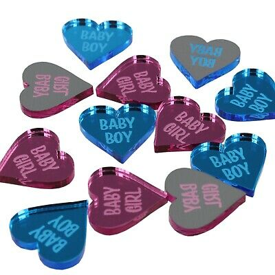 50 Baby Shower Favours Boy Girl 2cm Love Heart Table Decorations Confetti Decor