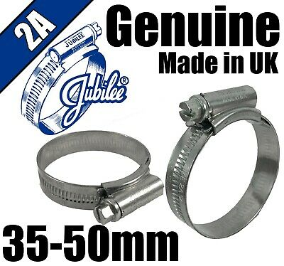 Genuine Original Jubilee Clips Steel Hose Pipe Clamps Worm Drive 35mm - 50mm 2A