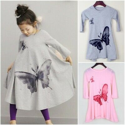 Butterfly Print Baby Girls Dresses Cute Beach Dress For Girls Toddler Clothing