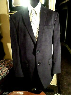 "MEN PREOWN TOP QUALITY ""CALVIN KLEIN"" SMOOTH CORDUROY BLAZER-BLUE-sz 42 R"
