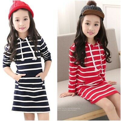 Striped Spring Autumn Casual Girls Dress Long Sleeve Hooded Baby Dress Clothes