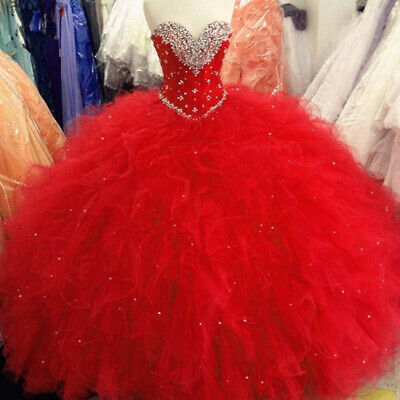 86ffd97c7043 Red Ball Gown Quinceanera Dresses 2019 Beaded Crystals Ruffles Sweet 16  Dresses