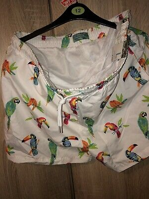 f3b2b730e235 Mens Primark Parrot Swim Shorts Brand New With Tags White Size Large