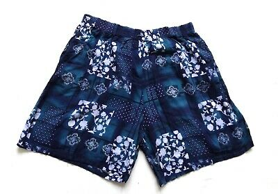 Women's Ladies Vintage 80's Blue Patchwork Print Shorts Retro Boho 16