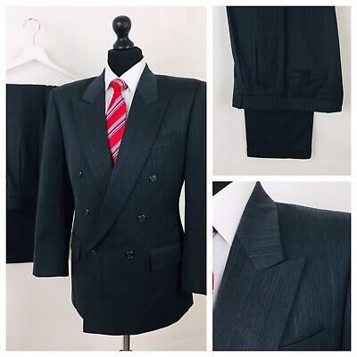 Vintage Mens Suit 40S 34W 29L Double Breasted Grey Formal Business  YE237
