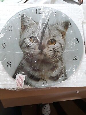 Glass wall clock with sweet cat picture