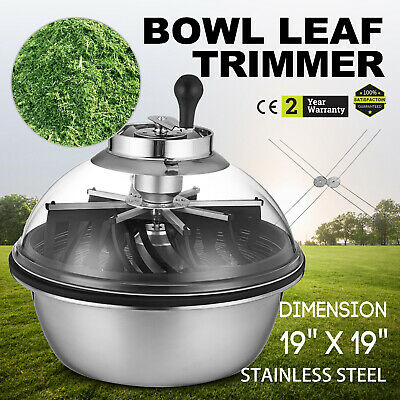 "Hydroponics Manual Trimmer Bowl 19"" Stainless Leaf Twisted Spin Pro Tumble"