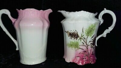 Porcelain Heavy Gold Pink Flowers Scalloped & Embossed Creamers 2