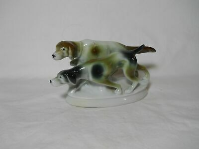 An Antique Erphila Germany Pair Of Hunting Dogs Figurine Excellent